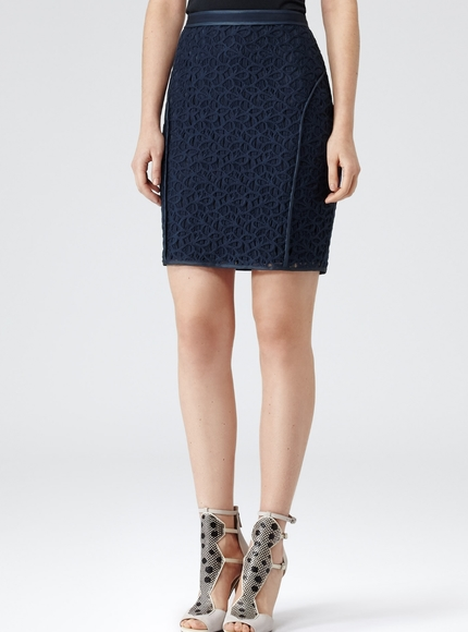 Reiss Brando Fitted Panel Pencil Skirt Navy Lace 8